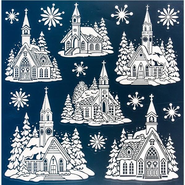 Glimmer-Relief-Sticker, Kirchen, XL 31,5x30,5 cm