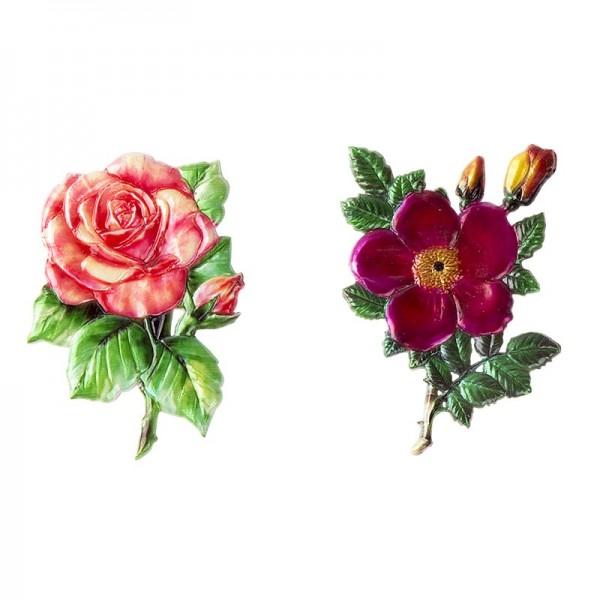 Wachsornamente, Rose & Heckenrose, 2 Stück