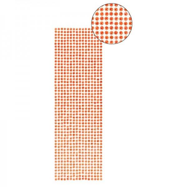 Schmuckstein-Bordüren, selbstklebend, facettiert, irisierend, Ø5mm, 29cm, 16 Stück, rot