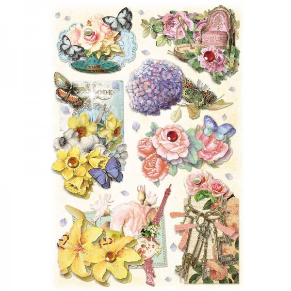 3-D Stickerbogen, Fashion-Blumen 1, 12,7 x 18,8 cm