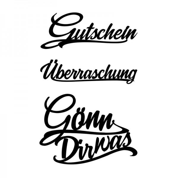 Stanzschablonen, Schriften, Gutschein, 2cm bis 8,2cm, 3 Stück