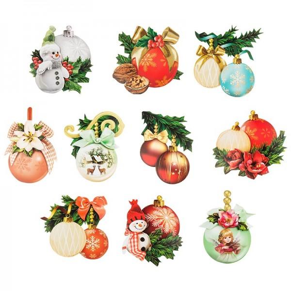 3-D Motive, Weihnachtskugeln, 6-9,5cm, 10 Motive
