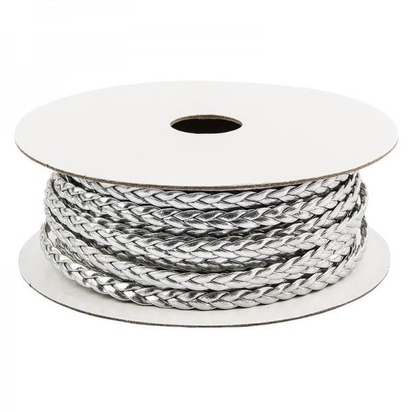 Deko-Band, geflochten, 5m lang, 0,3cm breit, silber