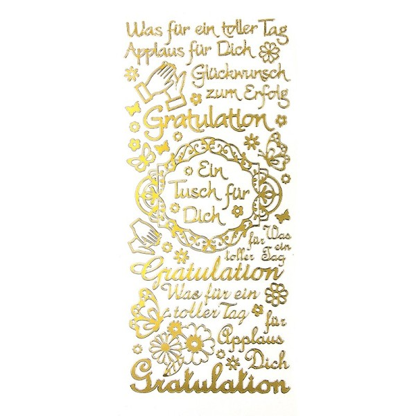 """Sticker, Schriften, """"Gratulation/Applaus"""", uvm., Perlmuttfolie, gold"""