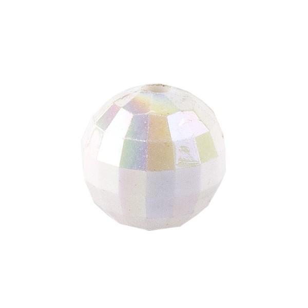Perlen, facettiert, Ø 8 mm, weiß-irisierend, 100 Stk.