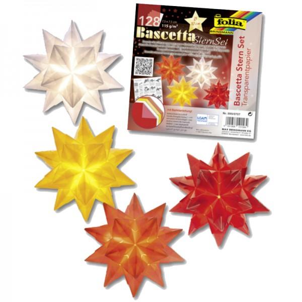 Bascetta Stern Set, transparent, 7,5x7,5cm, 128 Blatt, weiß, gelb, rot, orange