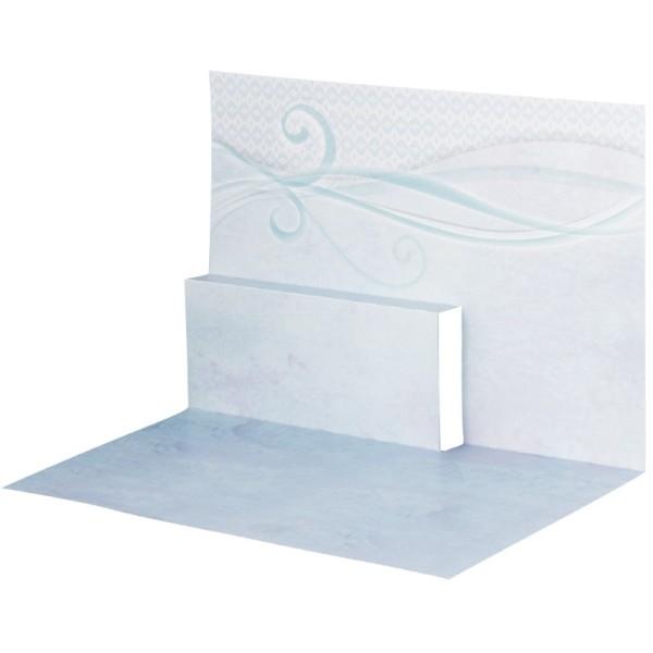 Pop-Up-Grußkarten-Einleger, gefaltet 11 x 15,5 cm, Schwung, blau