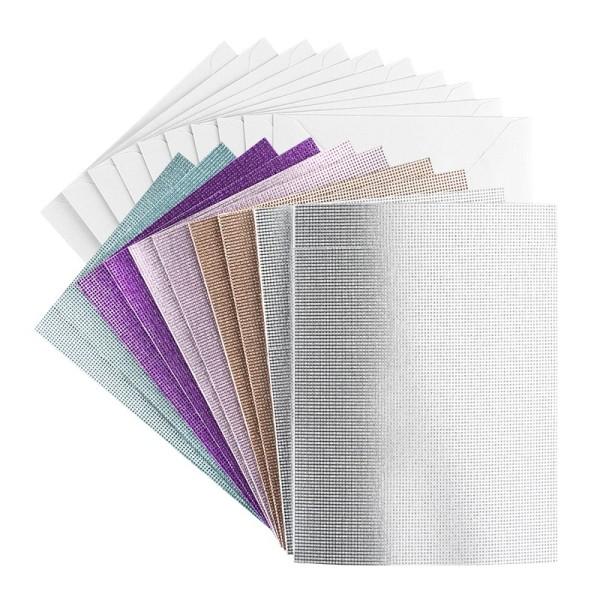 Grußkarten, Glitzer-Leinen, C6 (10,5cm x 14,5cm), 5 Farben, inkl. Umschläge, 10 Stück