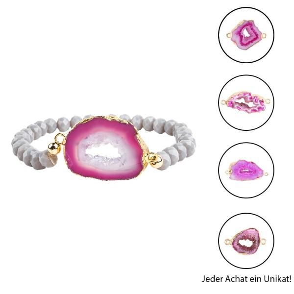 DIY-Schmuckarmband, Achat, pink mit Goldumrandung, 39-teilig