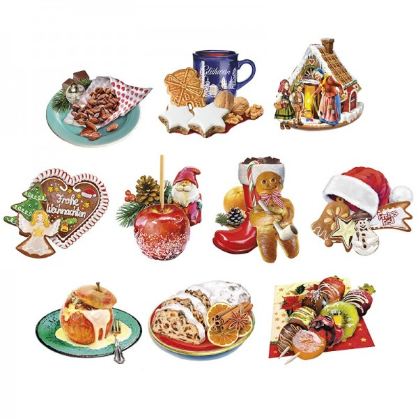 3-D Motive, Weihnachts-Leckereien, 6,5-10,5cm, 10 Motive