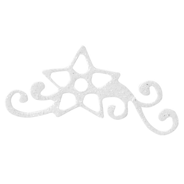 Glitzer-Ornamente, 25er Set, 3,5x6,5cm, Stern 1, weiß-irisierend