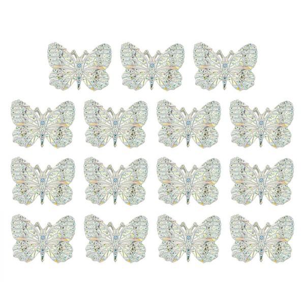 Schmucksteine, Schmetterling 1, 2,4cm x 3,2cm, klar, irisierend, silberne Rückseite, 15 Stück