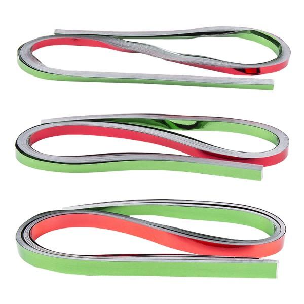 Folienstreifen, 3 Größen (5mm, 7mm, 10mm), 54cm lang, Spiegel-Optik, rot & grün, 150 Stück