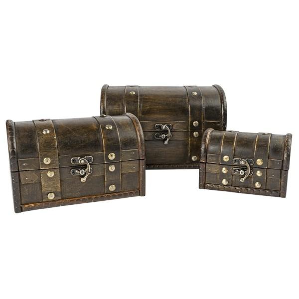 Schatztruhen, lasiertes Holz, mit Metall-Klappverschluss, 3 verschiedene Größen, 3 Stück