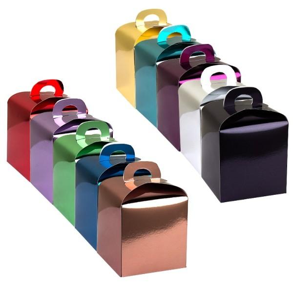 Faltboxen, geklebt, 10 cm x 10 cm x 10 cm, Spiegelkarton, verschiedene Farben, 10 Stück