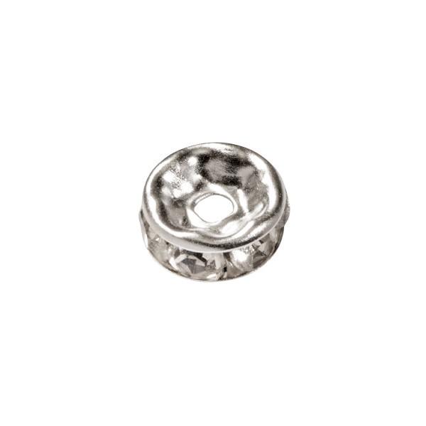 Strass-Rondell mit Strass-Steinen, Ø0,8 cm, 10 Stück, silber