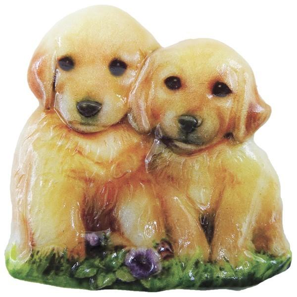 Wachsornament Hunde 3, farbig, geprägt, 7cm