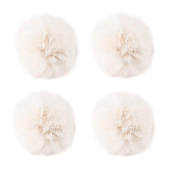 Fell-Pompons, Ø 8cm, naturweiß, 4 Stück