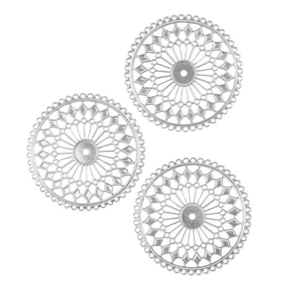 Metall-Ornamente, Design 37, Ø 8cm, silber, 3 Stück