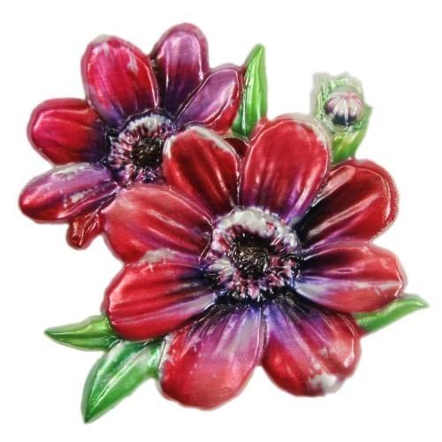 Wachsornament, Chrysantheme, farbig, geprägt, 7x7cm