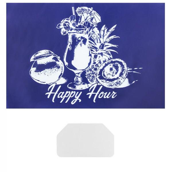 Siebdruckschablone Cocktail, Happy Hour, 32,5cm x 22,5cm, selbstklebend, inkl. Rakel