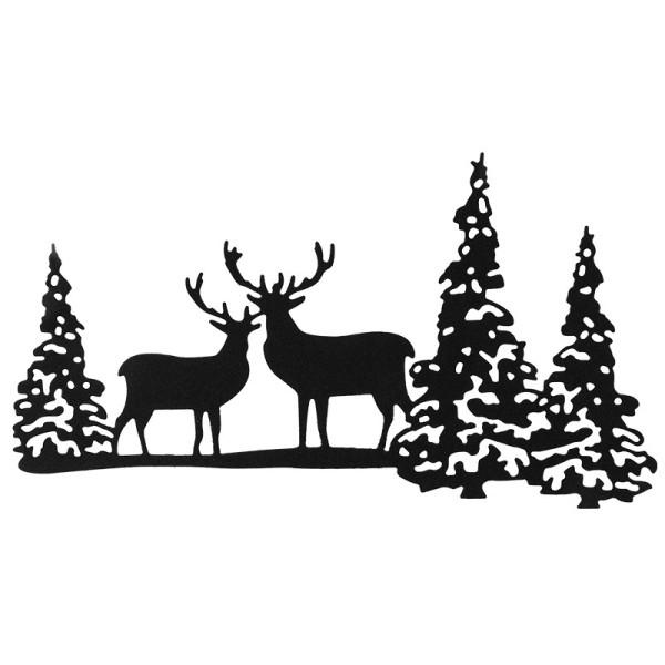 Stanzschablone, Hirsch im Wald, 14,7cm x 7,9cm, passend für gängige Stanzmaschinen