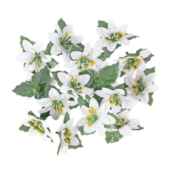 Deko-Blüten Weihnachtsstern 1, Ø 8cm, weiß mit grünen Blättern, 15 Stück