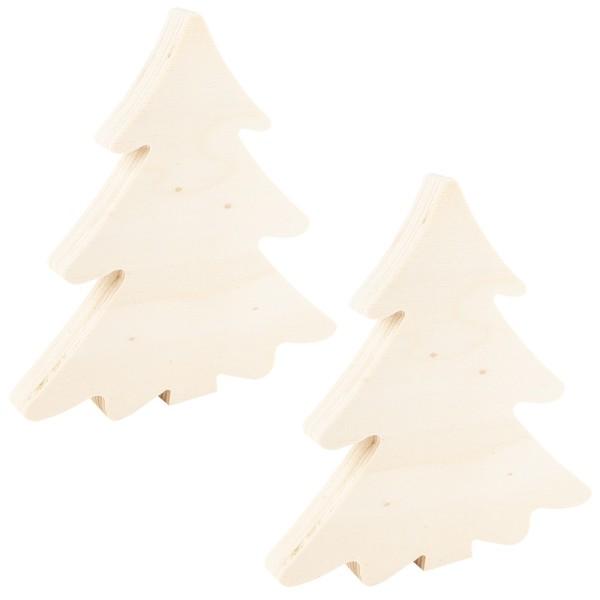 Tannenbäume, Holz, 15cm x 14cm x 1,5cm, zum Aufstellen, 2 Stück