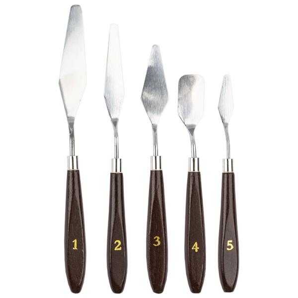 Malspachtel, Edelstahl-Klingen 4cm bis 9cm, 5 Stück