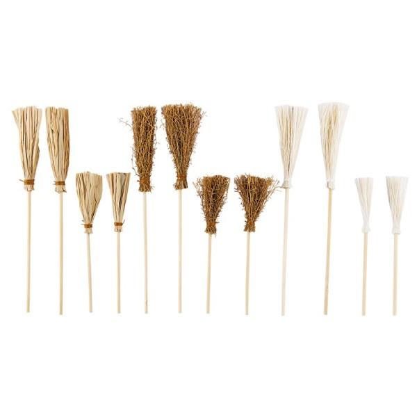 Deko-Besen, verschiedene Designs & Größen, 12 Stück