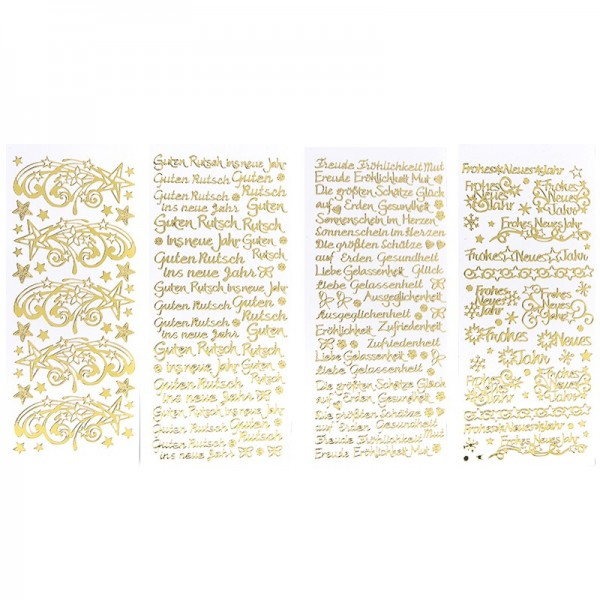 Stickerbogen, Neujahr, Spiegelfolie, gold, 4 Stück