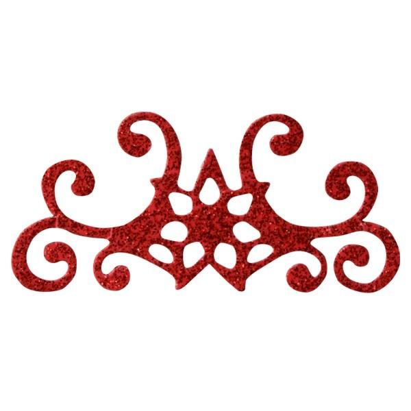 Glitzer-Ornamente, 25er Set, 3x7cm, Stern 4, rot