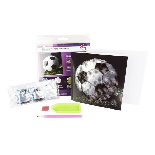 Diamond-Painting-Grußkarte, Fußball, 16cm x 16cm, 370g/m², inkl. Umschlag & Werkzeug