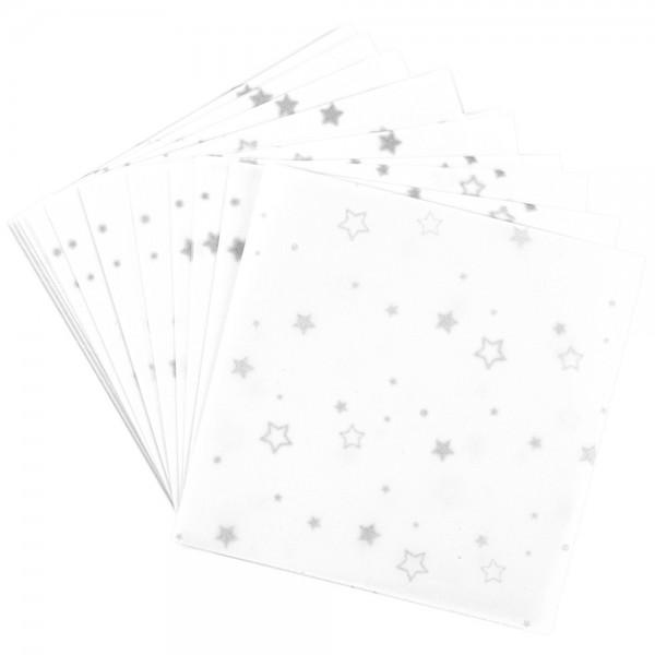 Faltpapiere, transparent, Sterne, 10cm x 10cm, 110 g/m², weiß/silber, 100 Stück