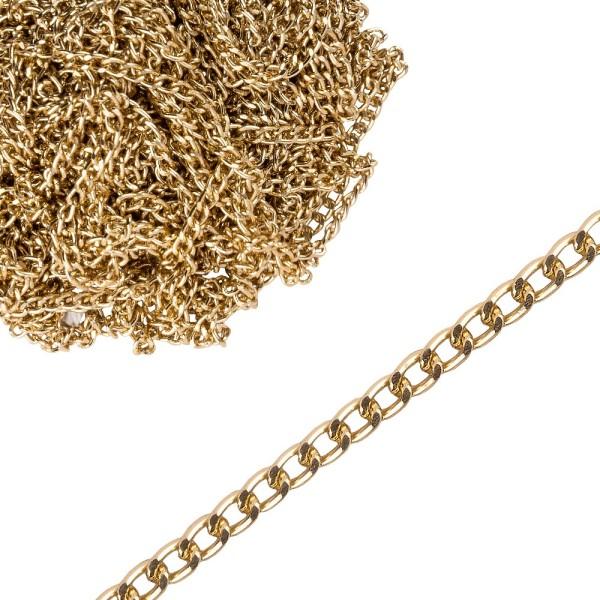 Schmuck-Gliederkette, 10m lang, 3,5mm breit, hellgold