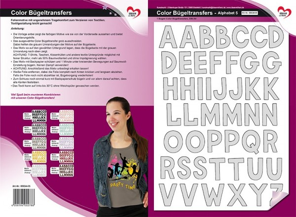 Color Bügeltransfers, DIN A4, Alphabet 5, grau