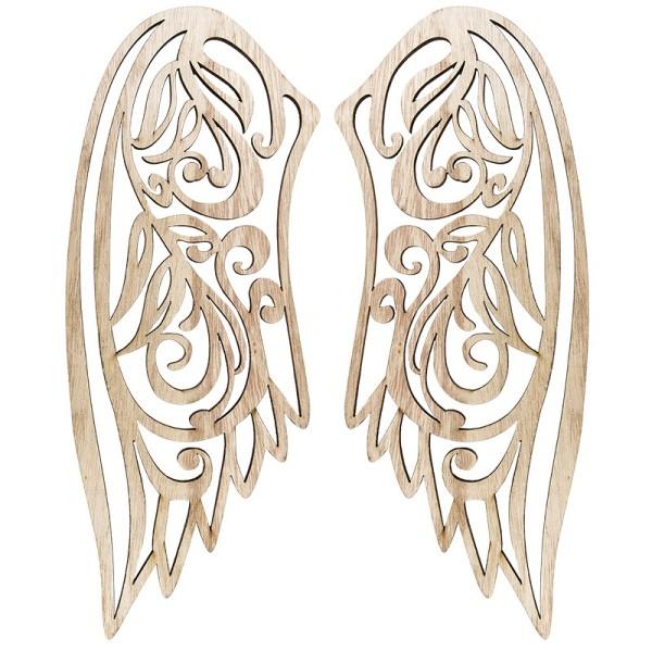Engelsflügel aus Holz, 34,5cm x 13cm (ein Flügel), 2 Stück