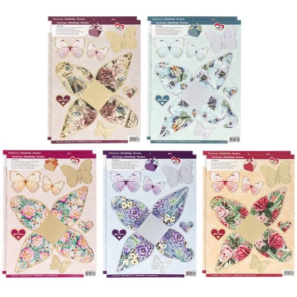 Stanzbogen, Schmetterling-Täschchen, DIN A4, 5 verschiedene Designs, 10 Stück