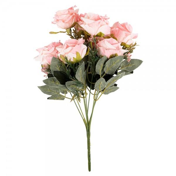 Blütenbusch, Elegante Rosen, 39cm lang, 9 große Blüten, Ø 7cm, rosé