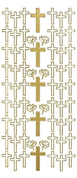 Sticker, Motiv Kreuz, gold
