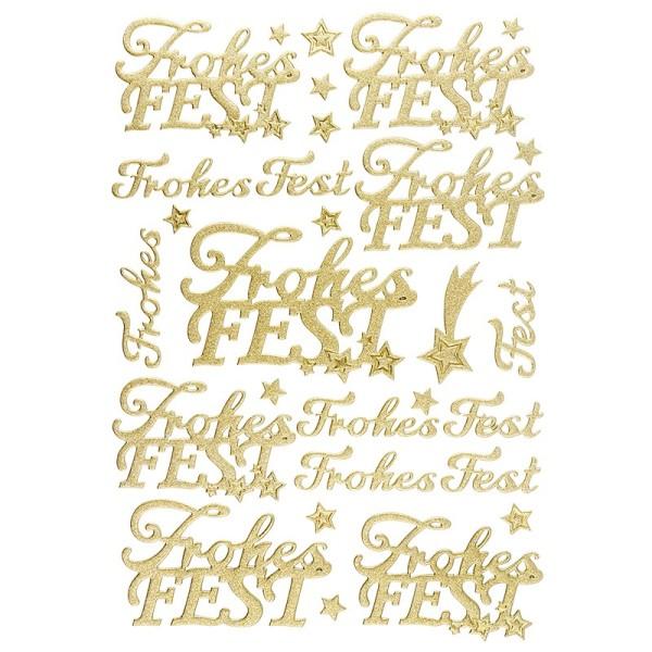 """3-D Sticker, Deluxe Schriften """"Frohes Fest"""", verschiedene Größen, selbstklebend, gold"""