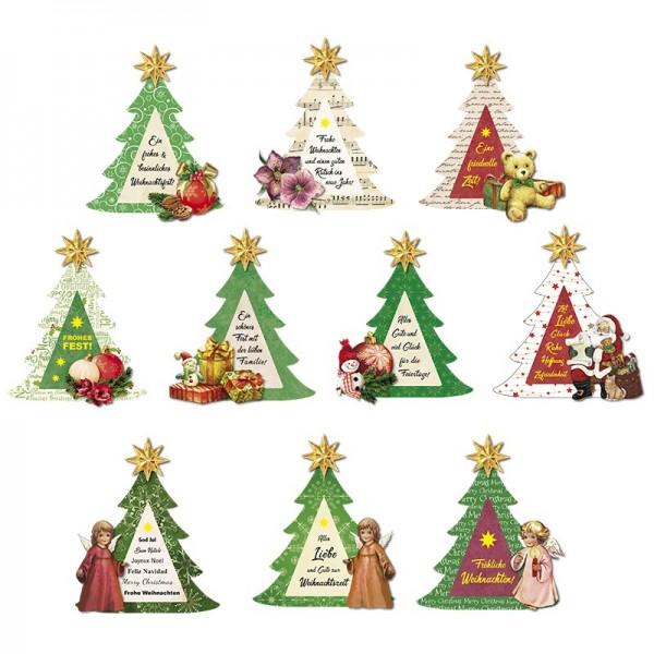 3-D Motive, Tannenbaum Weihnachten, 7-9cm, 10 Motive