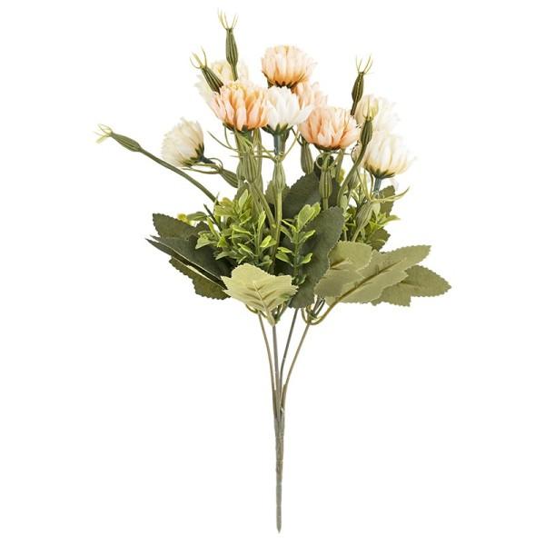 Blütenbusch, Chrysanthemen 4, 33cm hoch, 10 große Blüten, Ø 2cm, naturweiß/apricot