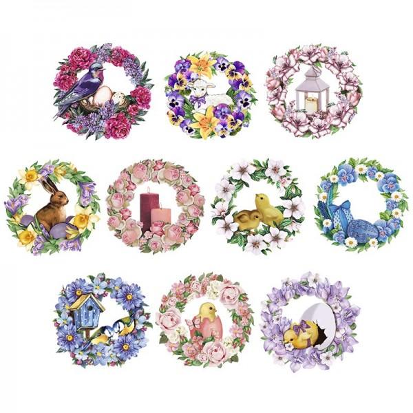 3-D Motive, Blumenkränze Frühjahr, 8-8,5cm, 10 Motive