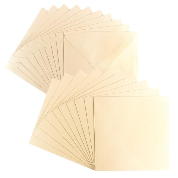 Grußkarten, Perlmutt, 16cm x 16cm, creme, inkl. Umschläge, 10 Stück