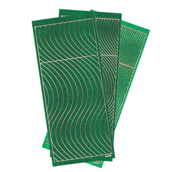 Microglitter-Sticker, Schwung-Linien, 3 Bogen, grün