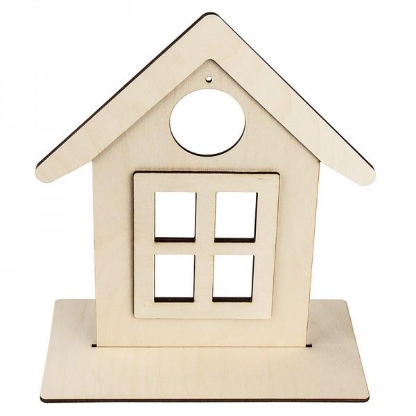 Deko-Haus aus Holz zum Aufstellen, 26,4cm x 23cm, mit kreisförmiger Aussparung, 3-D Elemtente