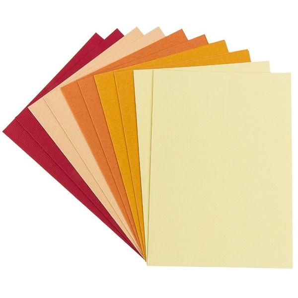 """Grußkarten """"Anna"""" in Leinen-Optik, C6, 5 Farben, Rot-/Gelbtöne, inkl. Umschläge, 10 Stück"""