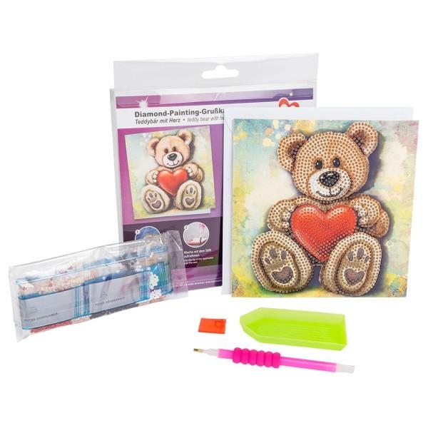 Diamond-Painting-Grußkarte, Teddybär mit Herz, 16cm x 16cm, 370g/m², inkl. Umschlag & Werkzeug
