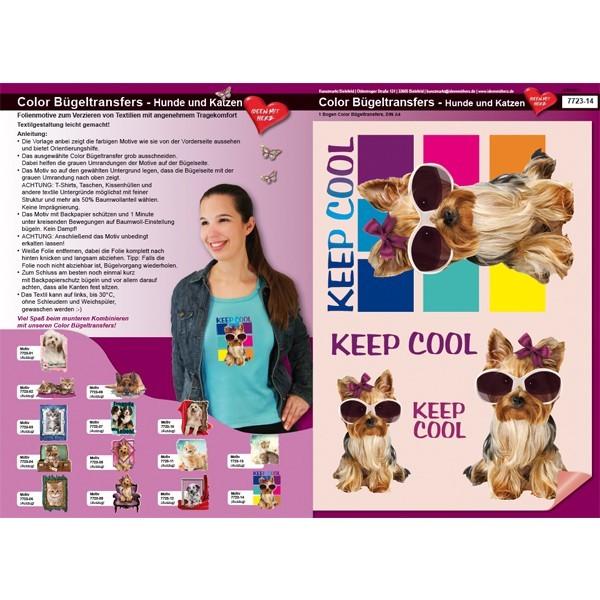 Color Bügeltransfers, DIN A4, Hund, Keep cool